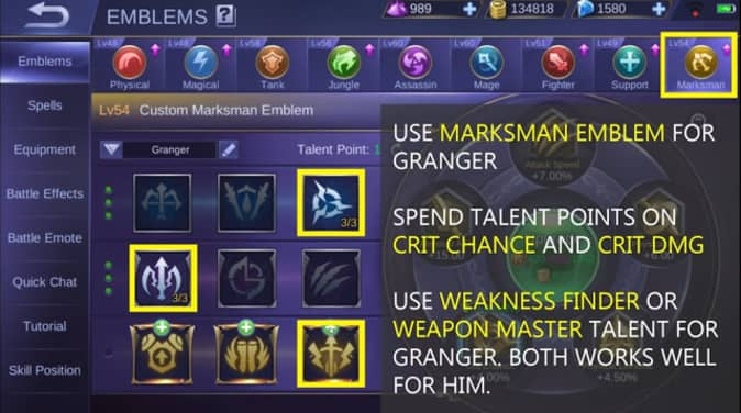 Mobile Legends Granger Emblem Set marksman