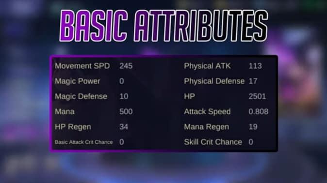 Mobile Legends Lylia Basic Attributes