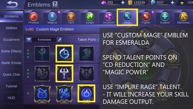 Mobile Legends Esmeralda Emblem Set