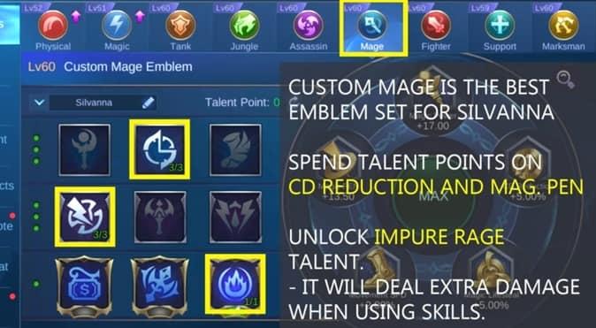 Mobile Legends Silvanna Emblem Set