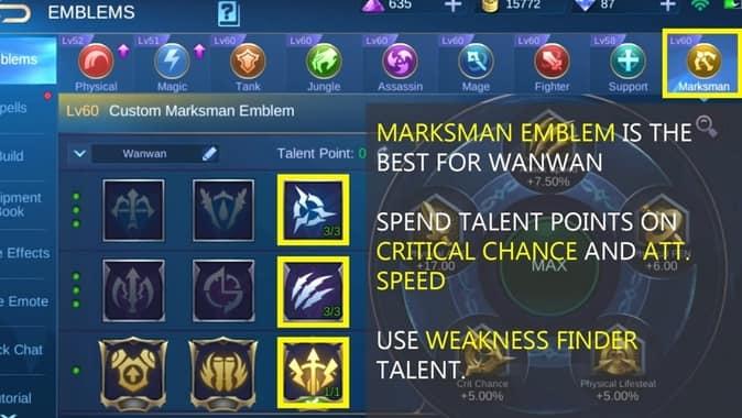 Mobile Legends Wanwan Emblem Set