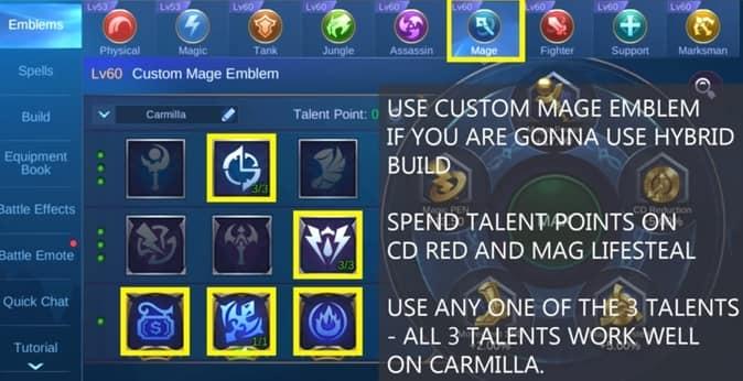 Mobile Legends Carmilla Emblem MAGE