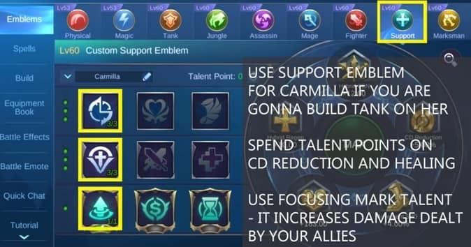 Mobile Legends Carmilla Emblem SUPPRT