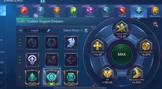 Mobile Legends Estes Emblem configuration supprt 2