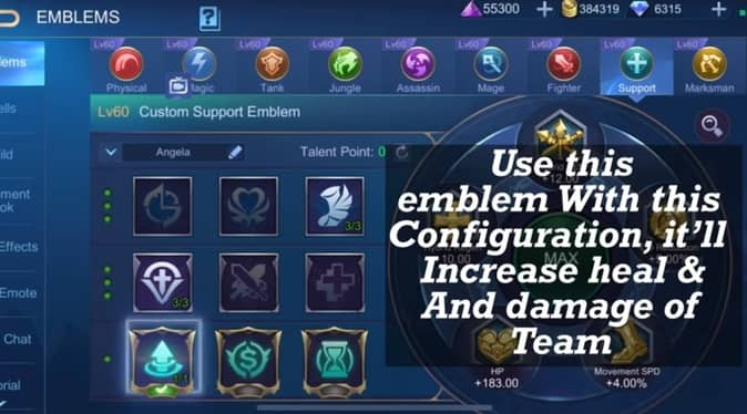 Mobile Legends Estes Emblem configuration supprt