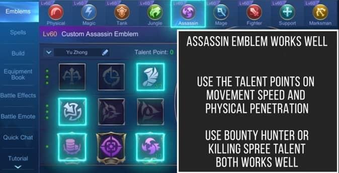 Mobile Legends Yu Zhong (Emblem Set)