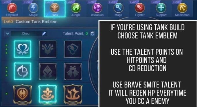 MLBB Chou Best Emblem Set 1