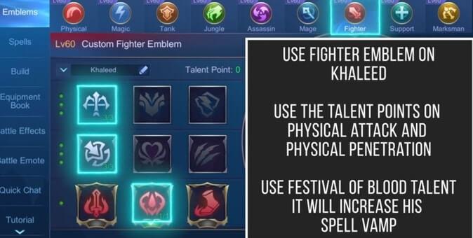 MLBB Khaleed Best Emblem Set