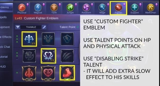 MLBB Thamuz Best Emblem Set