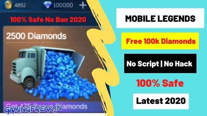 Get Free 100k Diamonds In Mobile Legends 2020
