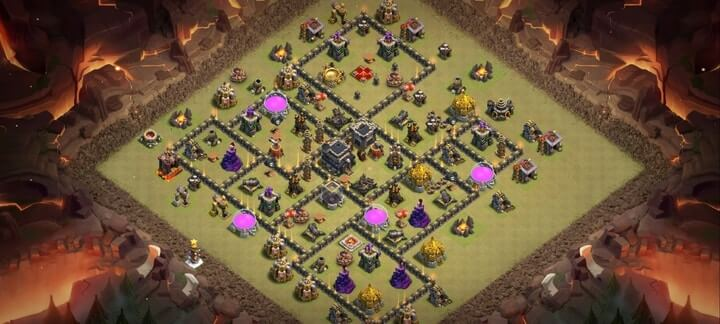 COC TH9 War Base Anti 2 Star