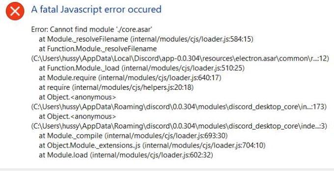 100% Solution Fixed A Discord Fatal Javascript Error 2021
