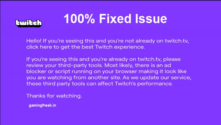 Twitch Player When The Purple Screen Appears