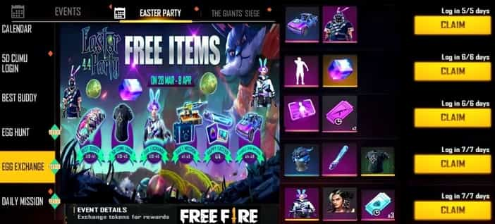 In-Game Events free fire